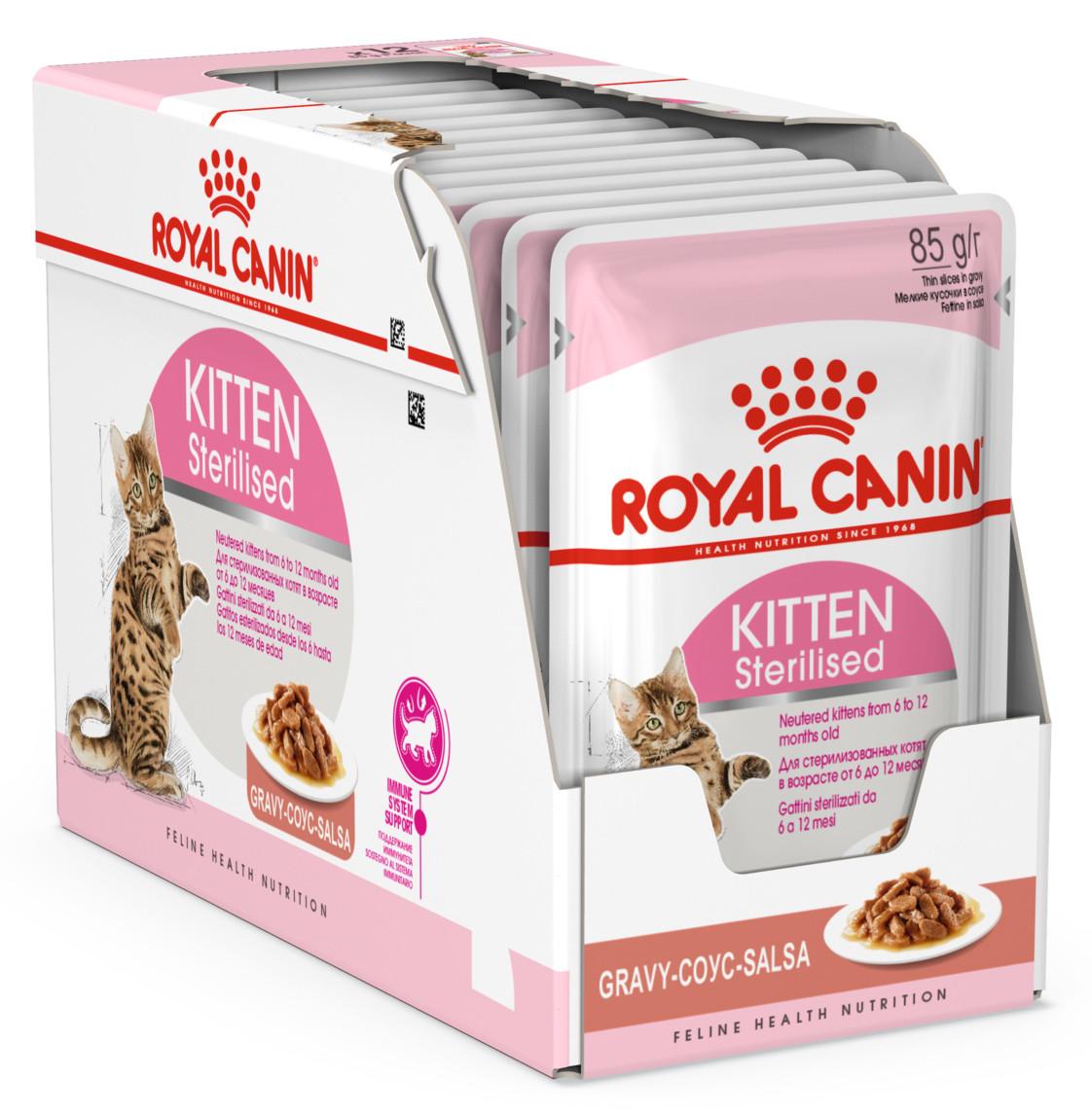 Влажный корм для кастрированных и стерилизованных котят Royal Canin Kitten Sterilised блок 85 г*12 шт.