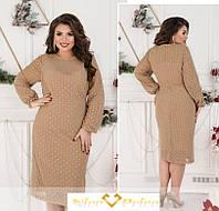 Нарядное бежевое платье с блестками 48-58р, фото 1