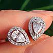 Серебряные пуссеты с фианитами - Серьги-гвоздики серебряные родированные, фото 5