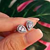 Серебряные пуссеты с фианитами - Серьги-гвоздики серебряные родированные, фото 4