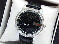 Женские кварцевые наручные часы  Gucci (Гуччи) на кожаном ремешке, серебро с черным - код 1611, фото 1
