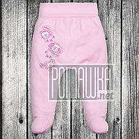Трикотажные ползунки р 68 3-5 мес детские штанишки на широкой еврорезинке для малышей ИНТЕРЛОК 3165 Розовый Б