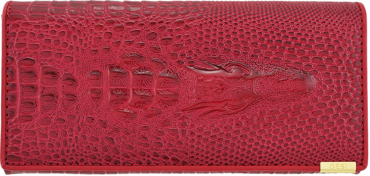 Женский кошелек с тиснением крокодила Banyanu красный