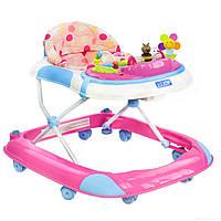 Ходунки детские розовые с игровым развивающим центром JOY для детей от 6 до 18 месяцев музыкальные W 1121 PB 8