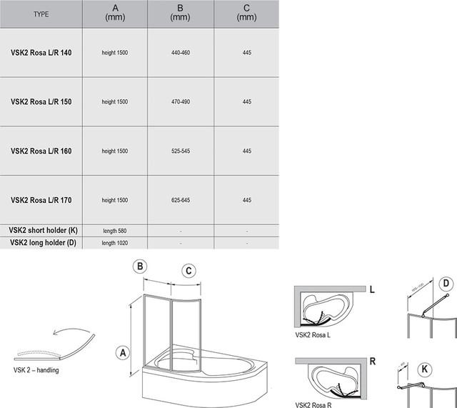Штора для ванн VSK2 Rosa