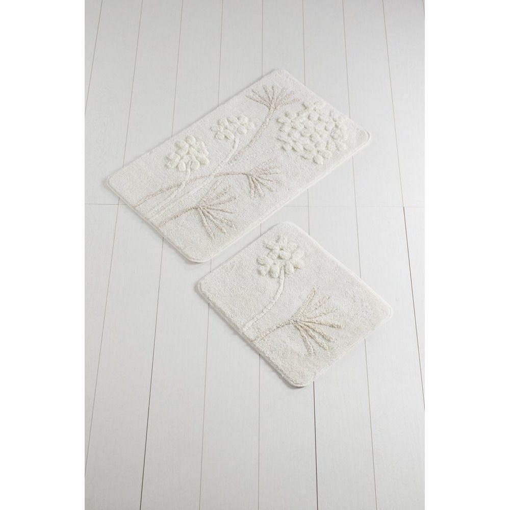Набор ковриков  для ванной комнаты ALESSIA набор (2 предмета). Белый с цветами