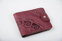 """Кожаный кошелек ручной работы """"Этно"""", цвет марсала, фото 1"""