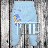 Трикотажные ползунки р 68 3-5 мес детские штанишки на широкой еврорезинке для малышей ИНТЕРЛОК 3165 Голубой А