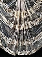 Тюль з об'ємною вишивкою на основі фатину 81125 (крем-золото)