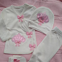 Красивый комплект для новорождённой девочки 56см