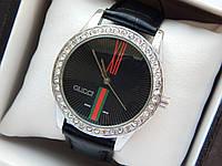 Жіночий кварцевий наручний годинник Gucci (Гуччі) на шкіряному ремінці, срібло з чорним - код 1612, фото 1