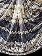 Тюль з об'ємною вишивкою на основі фатину 81139 (крем+золото)