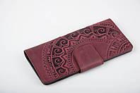 Кожаный кошелек ручной работы, кошелек c тисненым орнаментом 'Этно', цвет марсала, фото 1