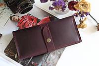Женский кожаный кошелек с монетницей ручной работы бордового цвета