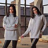 Женский вязаный удлиненный свитер-туника под горло (в расцветках), фото 7