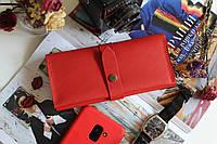 Женский кожаный кошелек с монетницей ручной работы красный
