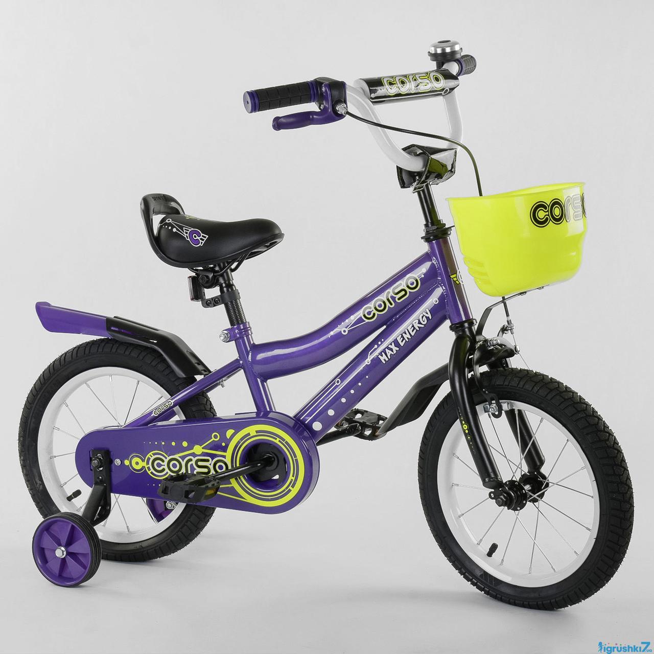 """Велосипед с корзинкой Corso R детский двухколесный 14 """" дюймов фиолетовый"""
