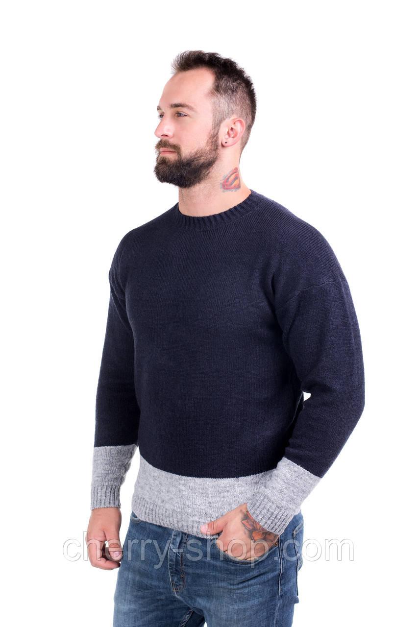 Мужской стильный джемпер двухцветный