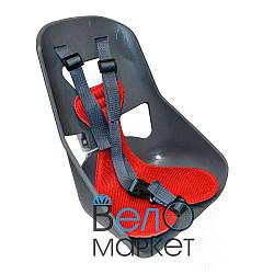 Легковесное Детское переднее велокресло, прочный пластик, на мужскую раму или багажник, серый