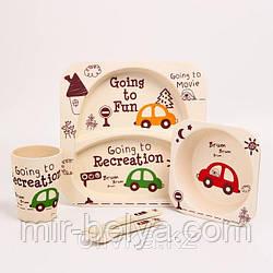 Набор детской посуды бамбуковый 5 приборов Машинки Eco Bamboo