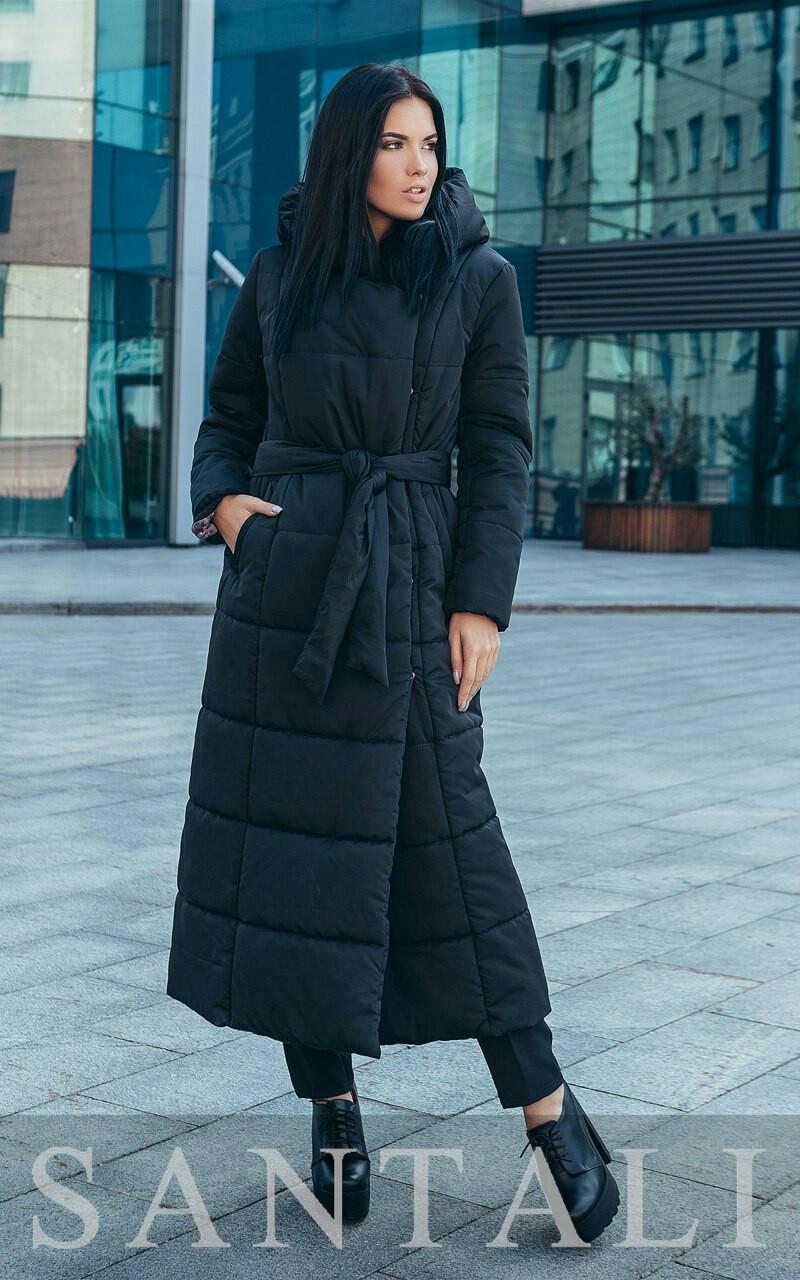 Женское зимнее длинное Пальто из плащевки на утеплителе с капюшоном 45pal252