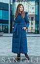 Женское зимнее длинное Пальто из плащевки на утеплителе с капюшоном 45pal252, фото 2