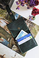 Женский кошелек из натуральной кожи ручной работы на кнопке с монетницей Mini зелёный