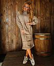 Свободное вязаное платье с высоким воротником и длиной ниже колена 18plt309, фото 3