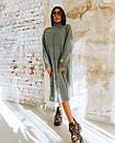 Свободное вязаное платье с высоким воротником и длиной ниже колена 18plt309, фото 4