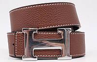 Женский брендовый двухсторонний кожаный ремень Hermes 40 мм., светло-коричневый, реплика 930977