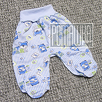Тёплые детские ползунки р 56 0-1 мес внешние швы штанишки широкая еврорезинка для малышей ФУТЕР 666 Голубой
