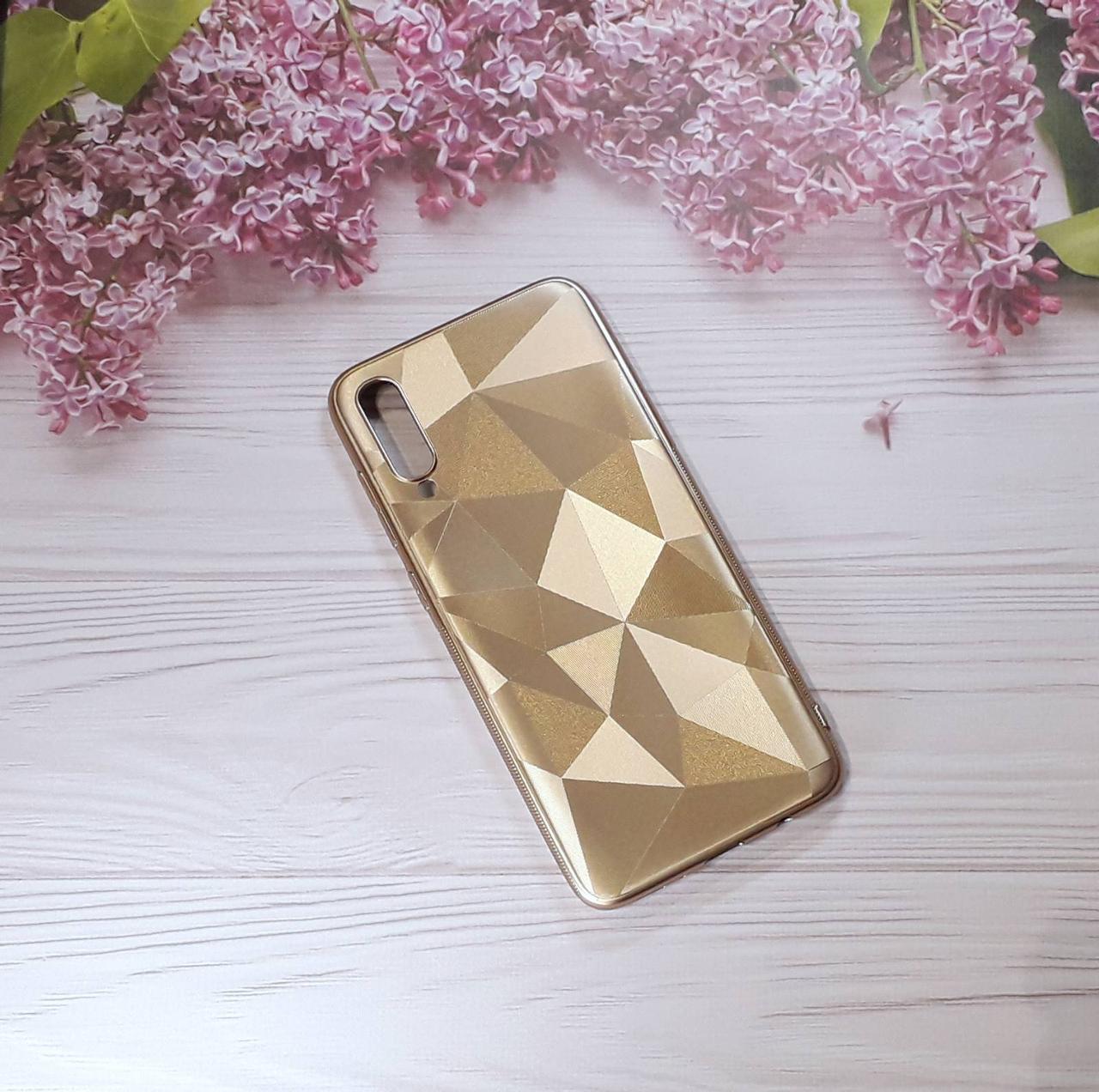 Чехол накладка Rhombus на Samsung A70 (2019),  Gold