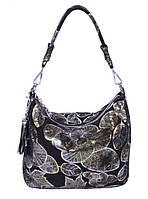 Сумка-мешок женская из черной замши с набивным рисунком(арт.8062) микс.Кожаные женские сумки оптом в Украине., фото 1