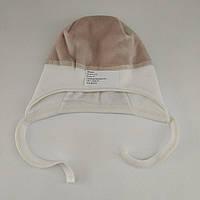 Шапка на завязках деми для новорожденного, р. 0-3 мес.