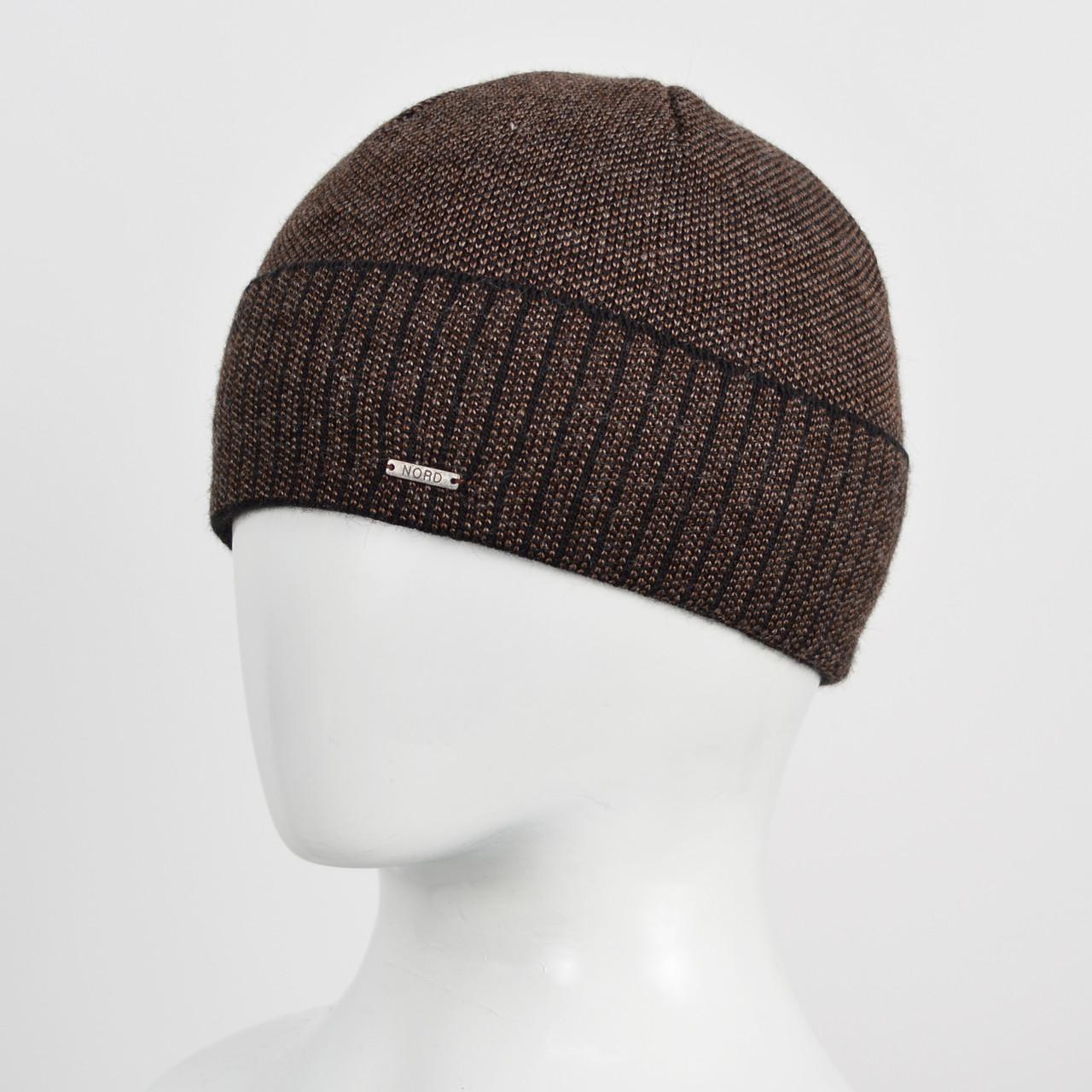 Вязаная шапка Nord на флисе 171712 черн+корич, фото 1