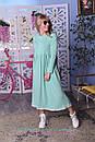 Теплое платье на флисе с завышенной талией и расклешенной юбкой 2plt313, фото 3