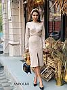 Трикотажное платье с обвязкой на талии и резрезом спереди 17plt321, фото 3