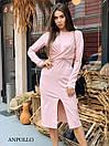 Трикотажное платье с обвязкой на талии и резрезом спереди 17plt321, фото 5