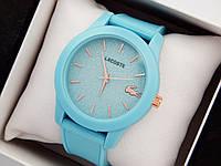 Женские кварцевые наручные часы  Lacoste (Лакоста) на силиконовом ремешке, голубые - код 1619, фото 1
