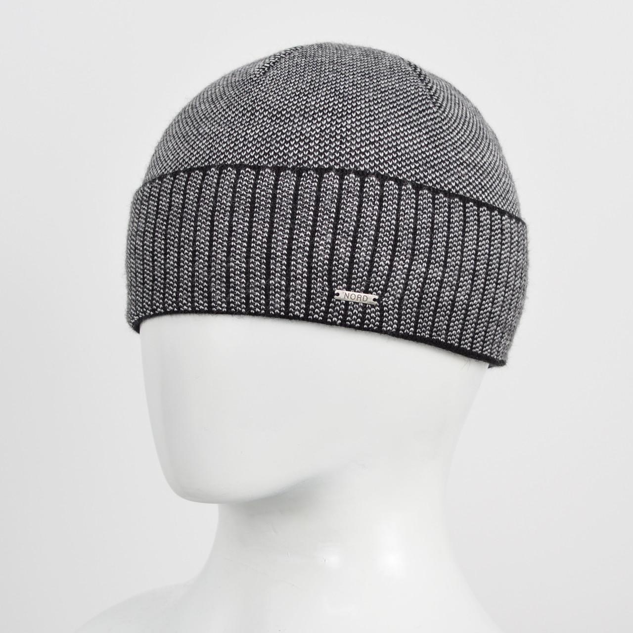 Вязаная шапка Nord на флисе 171712 черный+сталь