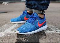 Мужские летние кроссовки Nike Roshe Run Flyknit New 2015 43 Синий