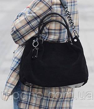 Жіноча замшева сумка на плече чорна Polina & Eiterou