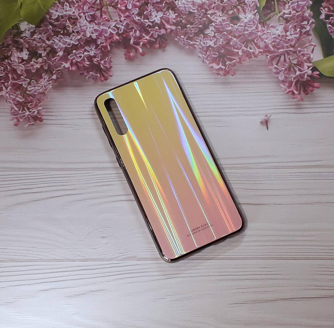 Чехол  Glass Gardient для Samsung A70 (2019), Yellow/Pink