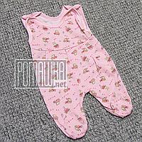 Детские тонкие высокие ползунки р 56 0-1 месяц застёжка на кнопках легкие швы наружу ткань КУЛИР 4232 Розовый
