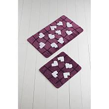 Набор ковриков  для ванной комнаты ALESSIA набор (2 предмета). Лиловый с сердечками