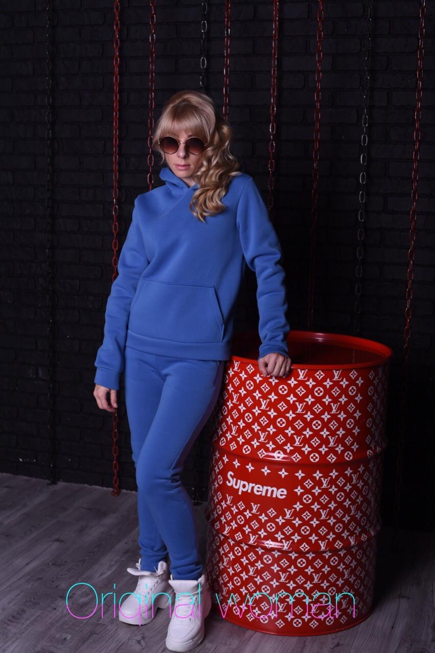 Теплый спортивный костюм из трехнитки с худи и зауженными штанами 2spt808