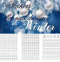 Набор трафаретов-наклеек для nail-art: ёлочки, мишки, снежинки, олени, месяц, колокольчики, ангелочки