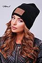 Вязаная женская шапка с нашивкой и подворотом 81gol201, фото 4