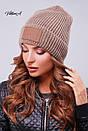 Вязаная женская шапка с нашивкой и подворотом 81gol201, фото 5