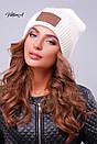 Вязаная женская шапка с нашивкой и подворотом 81gol201, фото 7
